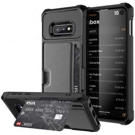 DrPhone Galaxy S10e/S10 Lite TPU Kaarthouder Armor Case met Verstevigde hoeken & magnetische autohouder ondersteuning - Zwart