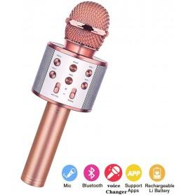 DrPhone Karaoke Microfoon Draadloos Met Bluetooth-luidspreker – Handheld KTV- Rosegold