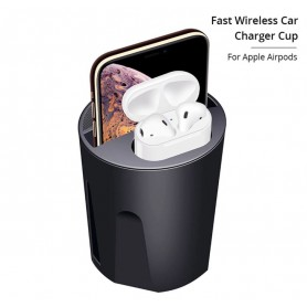 DrPhone 3 in 1 SCION-X PRO Cup Qi draadloze snellader + Airpods directe oplader + dubbele USB-uitgang – Zwart