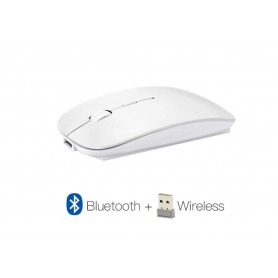 DrPhone MIX2 - 2 in 1 Draadloos Bluetooth Muis + 2.4Ghz Dongle Wireless Mouse - Wit