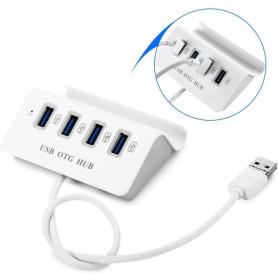 DrPhone 2 in 1 OTG – USB 3.0 /Micro USB Hub + Stand voor Smartphone - 4 USB 3.0 poorten – Wit