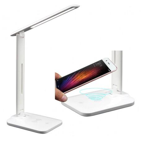 DrPhone CL – 28 LED Bureaulamp - USB oplaadpoort - Qi draadloos opladen – Touch Bediening – Kantoor / Nachtkastje - Wit