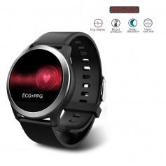 DrPhone® GTX4 - ECG+PPG Sport Smartwatch - Gezondheid / Fitness Watch - 8 Sportmodus - Berichten - Waterproof - Siliconen Zwart