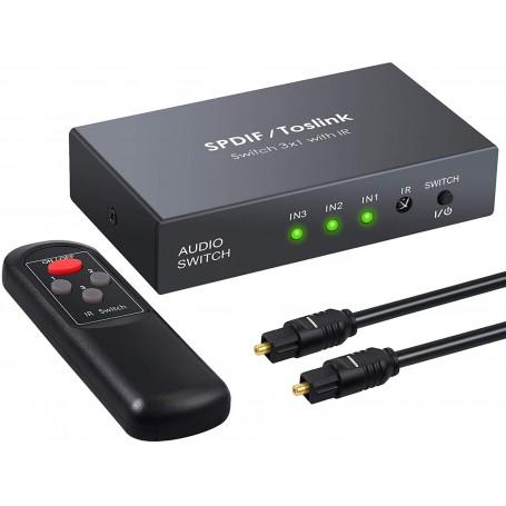 DrPhone 3x1 Digitale optische audio SPDIF Toslink – Glasvezelschakelaar met en IR-afstandsbediening – Zwart