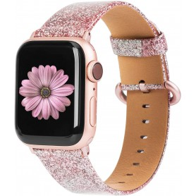 DrPhone Apple Watch 5/4/3/2 42/44mm Vrouwen Glitter Bling PU Lederen Armband Rosegold