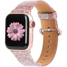 DrPhone Apple Watch 5/4/3/2 42/44mm Vrouwen Glitter Bling PU Lederen Armband Rosegold