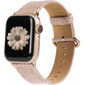 DrPhone Apple Watch 5/4/3/2 42/44mm Vrouwen Glitter Bling PU Lederen Armband Goud