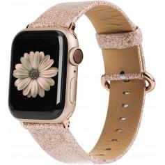 DrPhone Apple Watch 5/4/3/2 42/44mm Vrouwen Glitter Bling PU Lederen Armband Goud