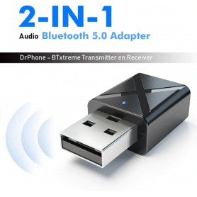 DrPhone - Bluetooth 5.0 Ontvanger / Receiver Draadloze Audio Muziek Stereo adapter Dongle voor TV PC Bluetooth Speaker