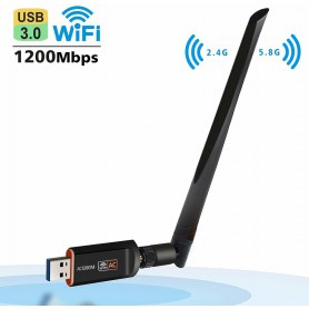 DrPhone W4 Wireless USB WiFi Adapter - 1200 Mbps 5G / 2.5G Dual-band met antenne - WLAN Adapter AC WiFi Dongle