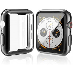 DrPhone Apple Watch 5/4 40MM TPU Siliconen Case – 360 Graden bescherming – Transparant Zwart