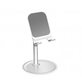 DrPhone SH2 Aluminium Bureau Stand Telefoon/Tablet Houder - Verstelbare Hoek 45 Graden - Anti Slip – Zilver