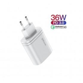 DrPhone - ICON Lader - 36W Charge - 2 Poort Stekker Oplader - USB-C + USB - Power Delivery - Voor Tablet & Smartphone - Wit