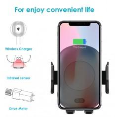 DrPhone QC1 - Wireless charging voor auto - Infrarood - Quick charge - Telefoon houder - Handsfree - Bellen - Qi - Draadloos