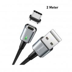 DrPhone iCON 2 Meter- Magnetische Type C Kabel USB-C oplaadkabel + Datakabel - 3.0A Support - Snellader - Zwart