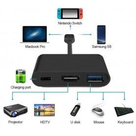 DrPhone S1 3 in 1 Adapter - Hdmi - Type-C - Usb 3.0 - Portable HDMI adapter - Geschikt voor nintendo switch