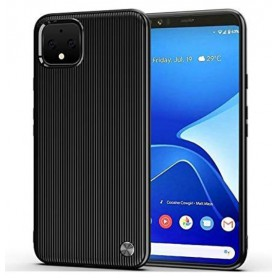 DrPhone Google Pixel 4 XL TPU Hoesje - Verticale Ontwerp -Schokbestendig - Krasbestendig – Zwart