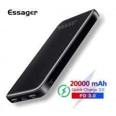 DrPhone Essager X2 – Powerbank – 20000 mAh- Supercharge – Fastcharge – Reizen – Zwart