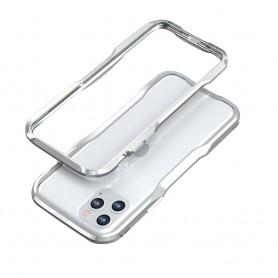 LUXWALLET® Incisive Sword + Glas - Aluminium Bumper iPhone 11 Pro MAX - A6061 Aluminium Frame Case - Zilver