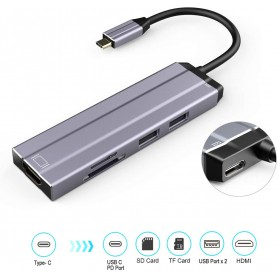 DrPhone 6 in 1 Aluminium USB C Hub Type C 3.1 HDMI 4K UHD 30HZ + USB 3.0 / 2.0 + Charge PD Type C + Micro SD-kaartlezer