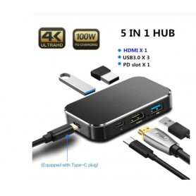 Drphone HB5 – 5 In 1 Hub - Type C- HDMI – 4K UHD 60Hz – USB 3.0 – Compact – Zwart