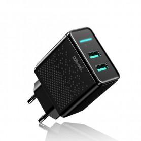 DrPhone - ACC02 IQ Smart Lader - 5V 2.4A - 2 USB Poorten - Smartphone + Tablet Lader - Zwart