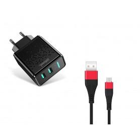 DrPhone - ACC02 IQ Smart 2 Poort Lader - 5V 2.4A - 2 USB Poorten + 1 Meter X1 Micro-USB Kabel - Zwart