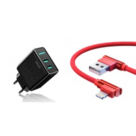 DrPhone - ACC02 - Smart IQ - 5V 2.4A - 2 USB Poorten + 1 Meter Apple Lightning G1 Haakse 90 Graden Oplaad + Data Kabel