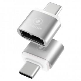 LUXWALLET O3 - OTG Adapter - Verander USB naar USB-C / Type-C voor o.a. Macbook - Zilver