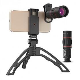 DrPhone APEX 4 in 1 Telefoon Camera Lens Set – 18x Zoom Lens – Fish Eye Lens – Groothoek Lens – Macro Lens – Statief – Zwart
