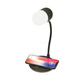 Drphone PS1 – 3 in 1 - Smart PowerSound Lamp – Speaker + Nachtlamp + Draadloos Qi Laden - BT 5.0 - Bureaulamp - Zwart