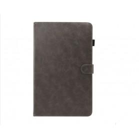 DrPhone Samsung Galaxy Tab A 10.5 T590 Luxe Retro PU Lederen Case met standhouder & kaartsleuf met elastische pen houder - Zwart