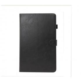 DrPhone Samsung Tab A 10.1 T510 2019 Luxe Retro PU Lederen Case met standhouder & kaartsleuf met elastische pen houder - Zwart