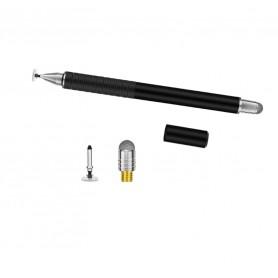 DrPhone SX Pro V6 Stylus Pen Side Grip - Precision Disc Capacitief + 1 Vervangbare Fijne Punt Disc + 1 Fiber Tip – Zwart
