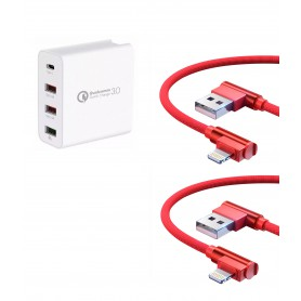 DrPhone ICON2 - 48W Snellader - 4 Poorten Lader + 2x Lightning Kabels voor Apple iPhone / iPad Pro / Air / Mini