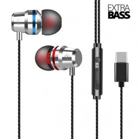 DrPhone - SoundLUX - In-Ear Bedrade Oordoppen met USB-C Aansluiting - Earbuds - Hoge BASS - Metal Grey