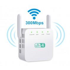 DrPhone WR1 - Wifi Versterker / Range Extender- 300mbps - 2.4Ghz - 30 Meter - High Speed Repeater - Antenne Hotspot - Wit