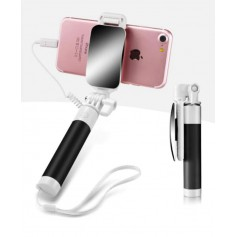DrPhone – Selfie Spiegel Stick – AUX Verbinding - 270° Draaibaar – Zwart
