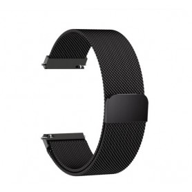 DrPhone Universele Magnetische Milanese Armband - 22mm - 46mm - RVS Horlogeband - Zwart