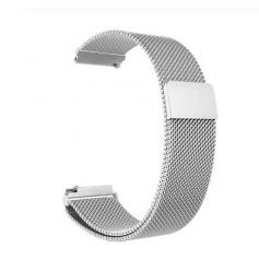 DrPhone Universele Magnetische Milanese Armband - 22mm - 46mm - RVS Horlogeband - Zilver