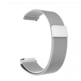 DrPhone Universele Magnetische Milanese Armband - 18mm - RVS Horlogeband - Zilver