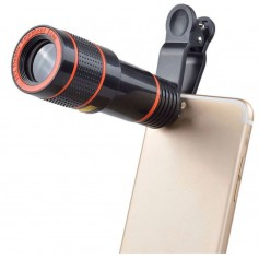 DrPhone PiX® Series 8x Zoom Telescoop Met Clip Ons voor Smartphones / Tablets - Zwart