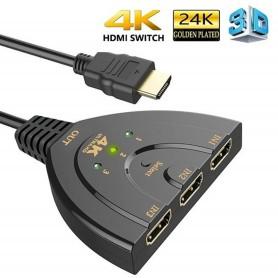 DrPhone 4K2 - HDMI-switch Splitter 3-poorten Pigtail - 4K HDMI-switch - 3-in-1-out met high-speed - Zwart