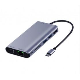 DrPhone MF2 USB C Hub - 8-in-1 adapter met Ethernet-poort- 4K UHD HDMI, PD 87W - VGA, 2x USB 3.0 - SD-kaartlezer – mic & audio