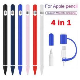 DrPhone P1 – 4 in 1 Stylus Siliconen Pouch Sleeve geschikt voor Apple pencil 1ste Genaratie - Wit