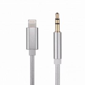 DrPhone SC5 Flex – Lightning naar 3.5mm Aux Kabel – Nylon Gevlochten – 1M – Zwart