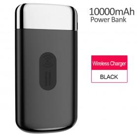 DrPhone Qi Draadloze Oplader + Power Bank 10000 mah - Draagbare Powerbank Qi Lader met 2 USB poorten