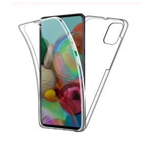 DrPhone Samsung S20 ULTRA Dual TPU Case - 360 Graden Cover - Voor en Achter Volledig Bescherming - Transparant ( Geen Stippels)