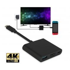 DrPhone SX1 - 3 in 1 Adapter - HDM - Type-C - Usb 3.0 - Portable HDMI adapter - Geschikt voor Nintendo Switch