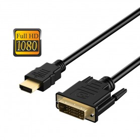 DrPhone High Speed DVI naar HDMI Kabel Full HD 1080P - Support ook DVI-D - DVI-I 24+5 - 1 Meter